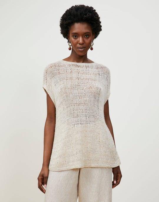 Italian Alpaca Silk Lofty Open Stitch Bateau Neck Sweater