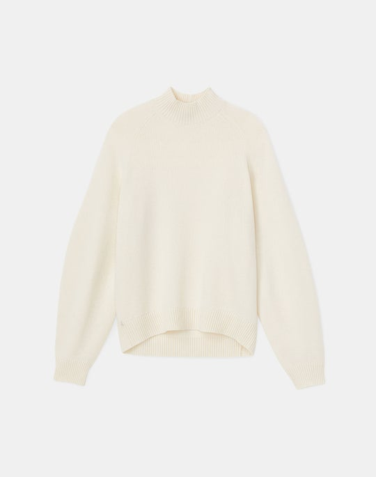 Plus-Size KindCashmere Sculpted Sleeve Stand Collar Sweater