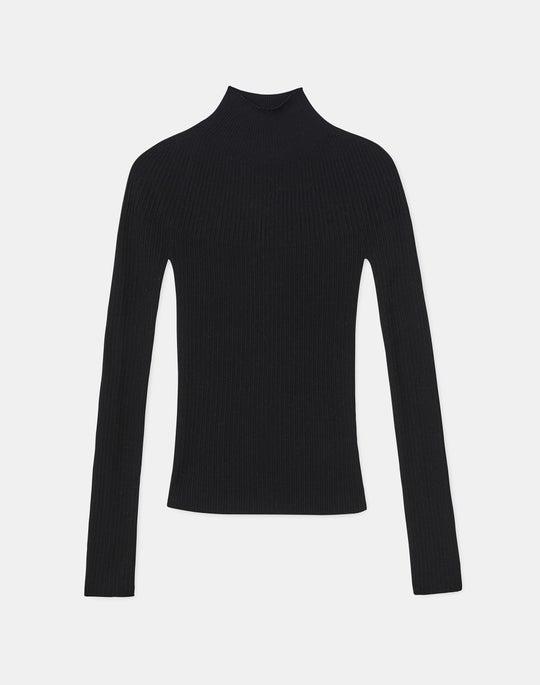 Petite Italian Fine Gauge Merino KindWool Mixed Rib Stand Collar Sweater