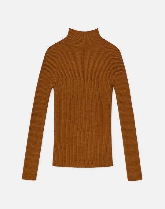Italian Fine Gauge Merino KindWool Mixed Rib Stand Collar Sweater