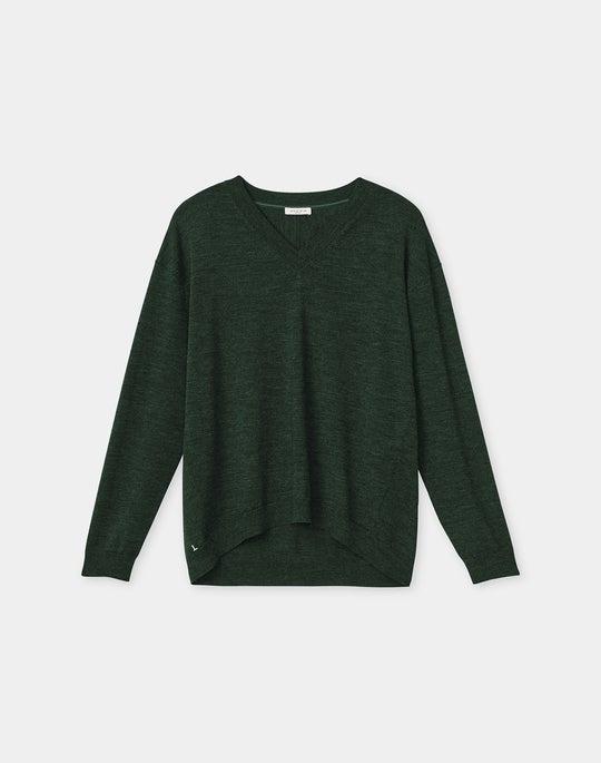 Italian Fine Gauge Merino KindWool Drop Shoulder V-Neck Sweater