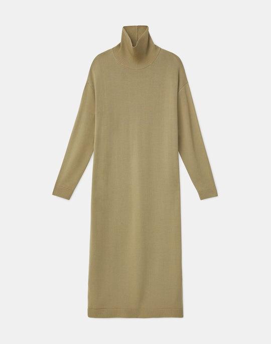 Italian Fine Gauge Merino KindWool Turtleneck Sweater Dress