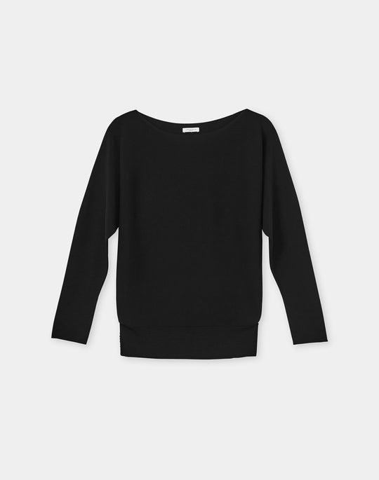 Plus-Size Matte Crepe Knit Bateau Neck Dolman Sweater