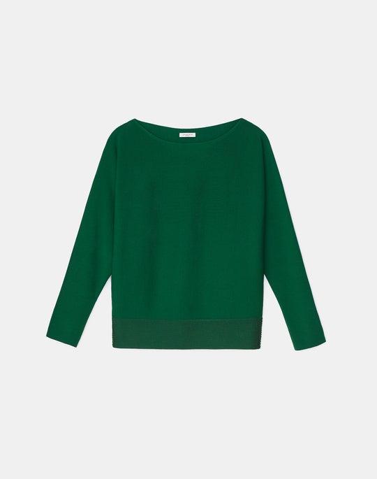 Matte Crepe Knit Bateau Neck Dolman Sweater