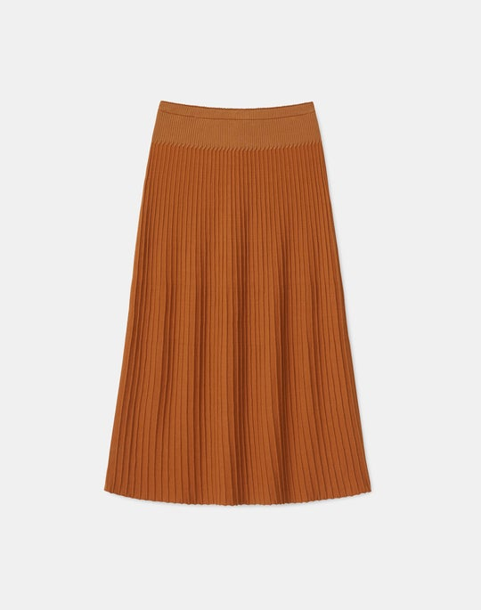 Plus-Size Matte Crepe Rib Knit  Pull-On Skirt