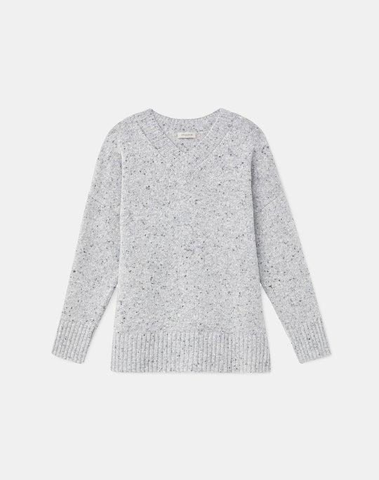 KindMade Cashmere-Wool Donegal V-Neck Sweater