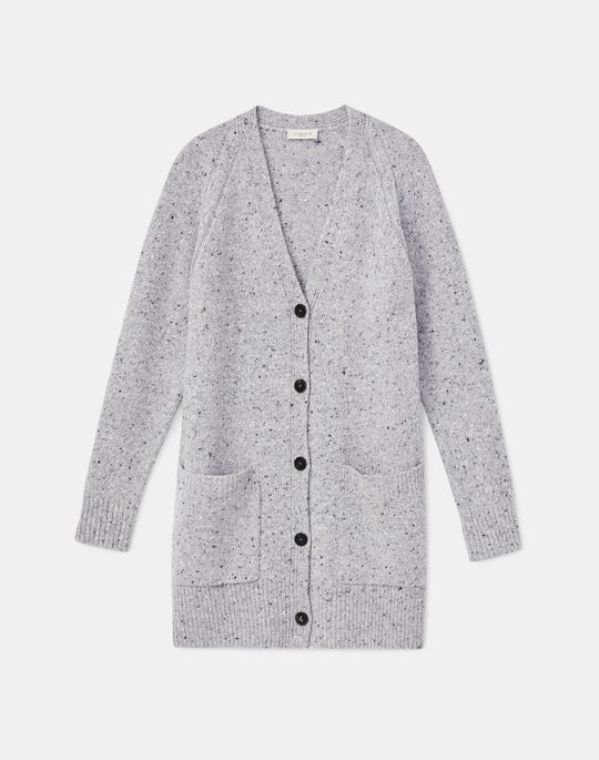 Plus Size KindMade Cashmere-Wool Donegal Cardigan