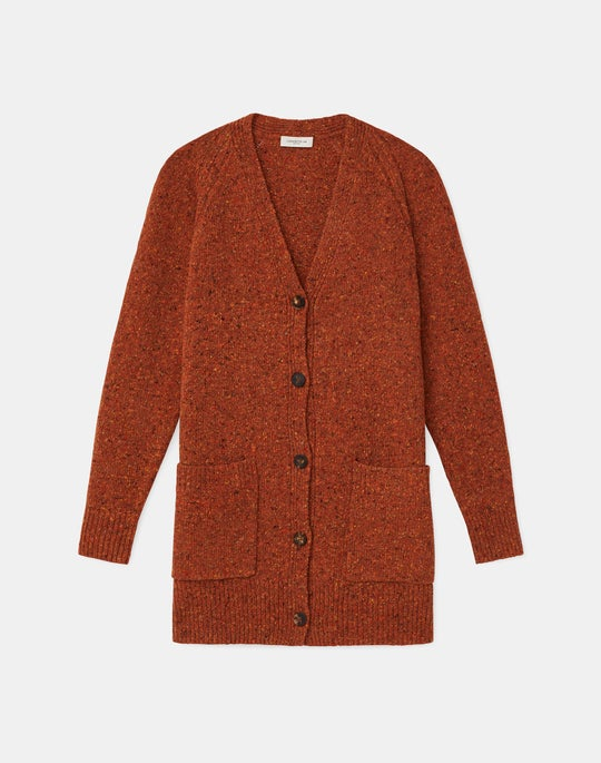 KindMade Cashmere-Wool Donegal Button Front Cardigan