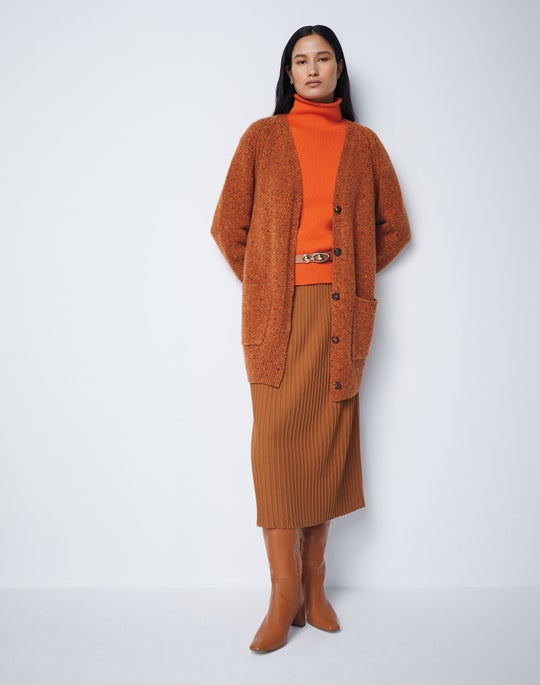 Donegal Button Cardgian and Rib Knit Skirt
