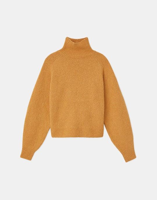 Plus-Size Italian Cashmere Boucle Turtleneck Sweater