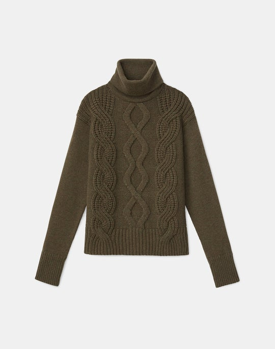 Kindcashmere 8 Knot Mixed Cable Turtleneck Sweater