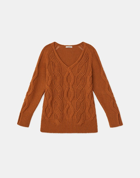 Kindcashmere 8 Knot Mixed Cable V-Neck Sweater