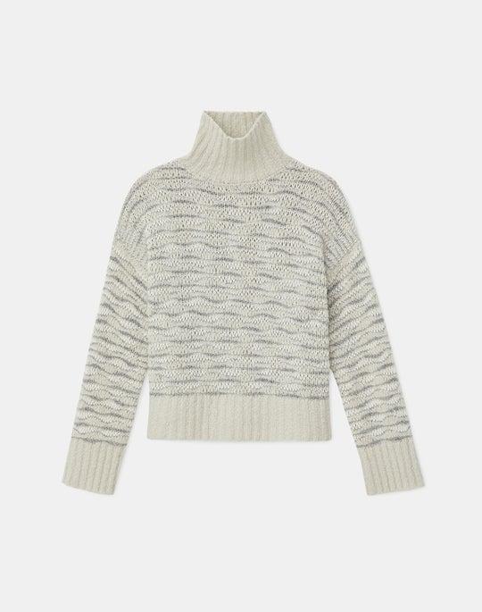Italian Cashmere Bouclé Open Stitch Stand Collar Sweater