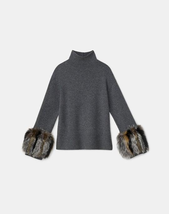 Cashmere Fox-Trimmed Turtleneck Sweater