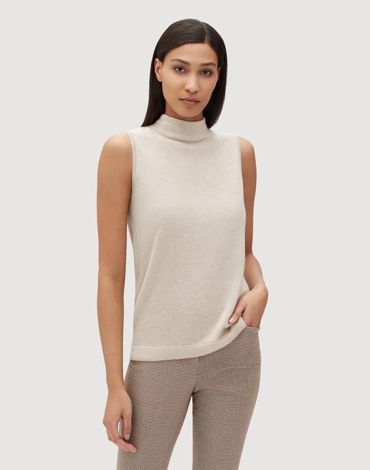 Plus-Size Cashmere Lurex Trim Mockneck Sweater