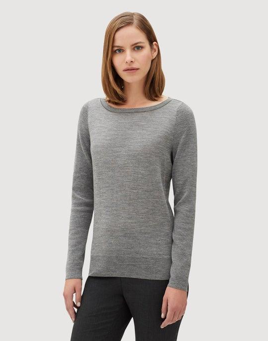 Fine Gauge Merino Lurex Neck Trim Pullover