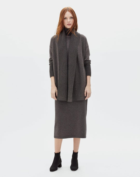 Vanise Cashmere Rib Trim Cardigan and Cashmere Knit Boot Skirt