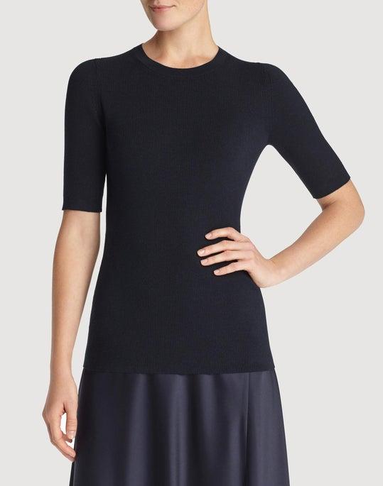 Petite Italian Silk Skinny Rib Sweater