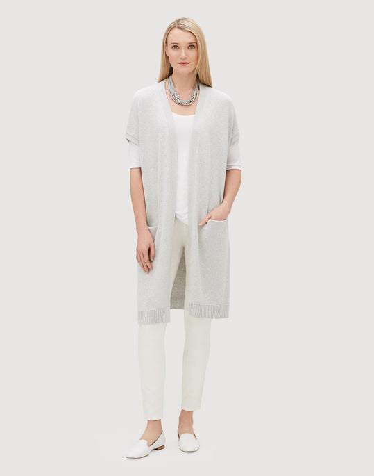 Cotton Silk Tape Relaxed Long Vest