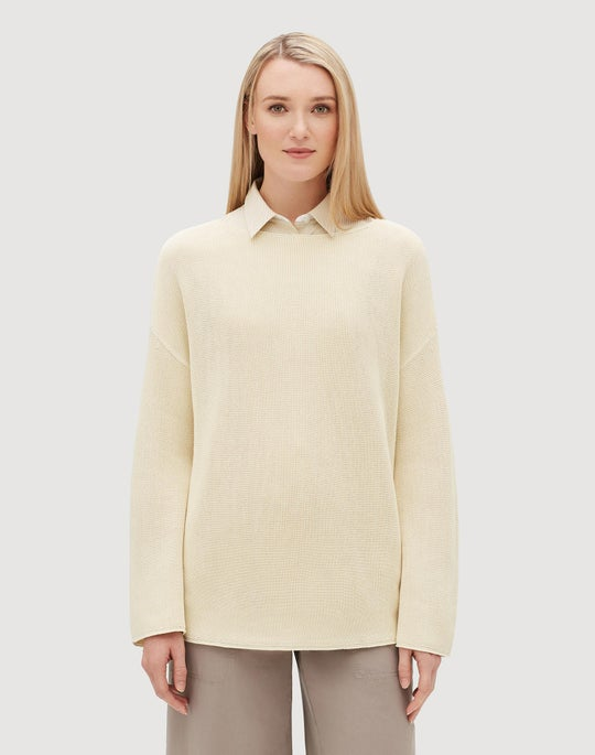 Petite Cotton Silk Tape Relaxed Textured Stitch Sweater