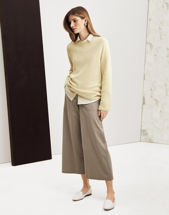 Texture Stitch Sweater and Cropped Fulton Wide-Leg Pant