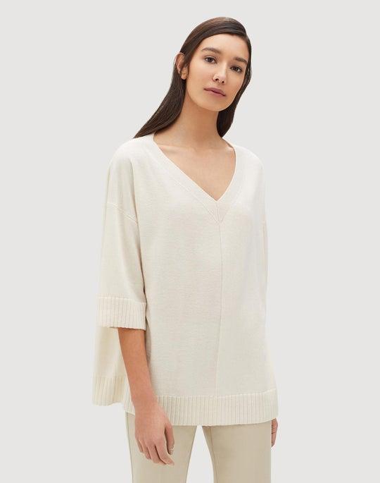 Plus-Size Cashmere Wide V Pullover