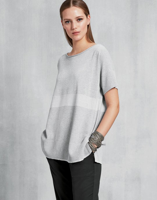 Plus-Size Cotton Crepe Yarn Sequin Striped Sweater
