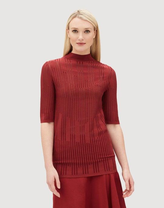Matte Crepe Semi-Sheer Intarsia Sweater