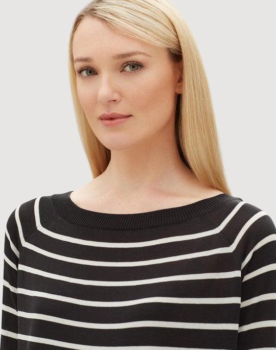 Finespun Voile Striped Raglan Sweater