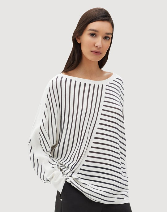 Matte Crepe Directional Striped Dolman Sweater