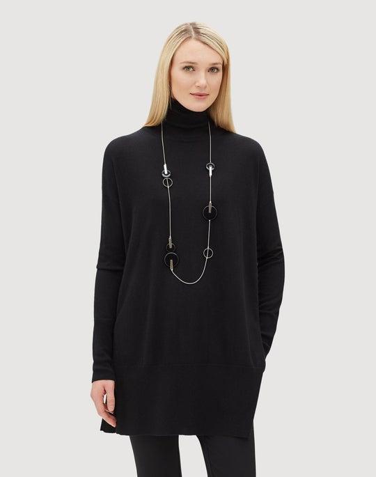 Plus-Size Luxurious Cashmere Silk Long Turtleneck Sweater