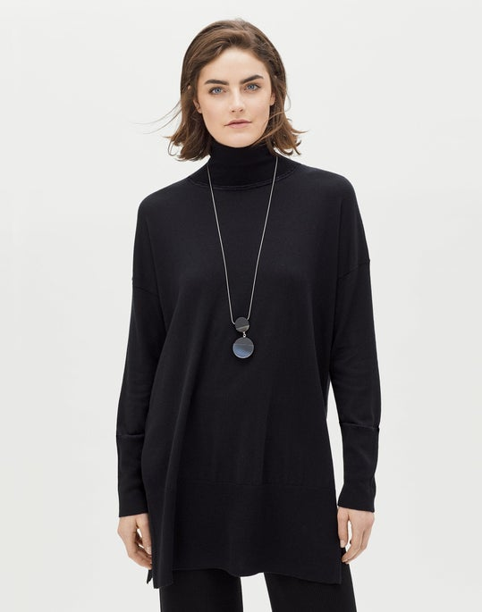 Cashmere Silk Long Turtleneck Sweater and Ribbed Pants