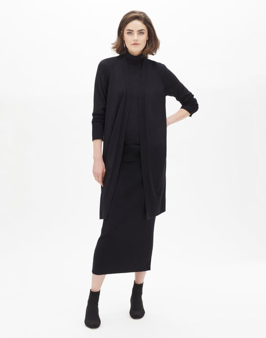 Cashmere Silk Open-Front Cardigan and Cashmere Silk Knit Boot Skirt