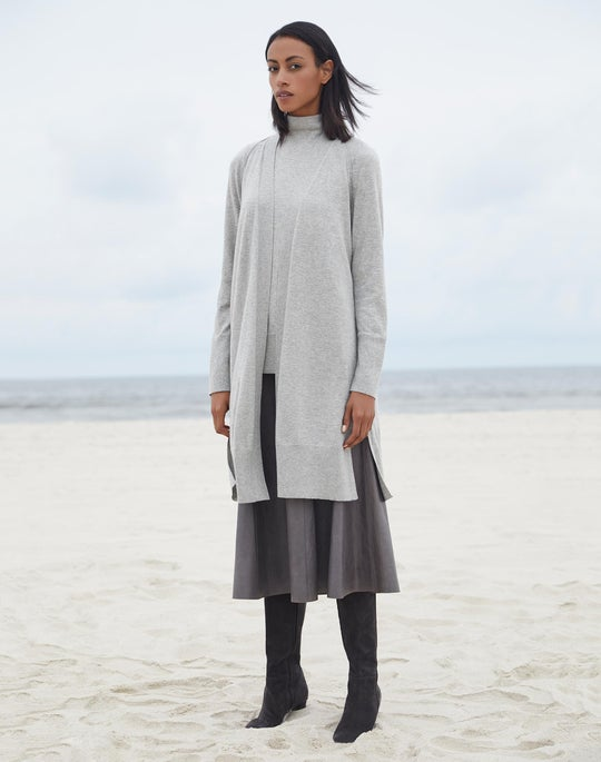 Open Front Cardigan and Leather Roma Skirt