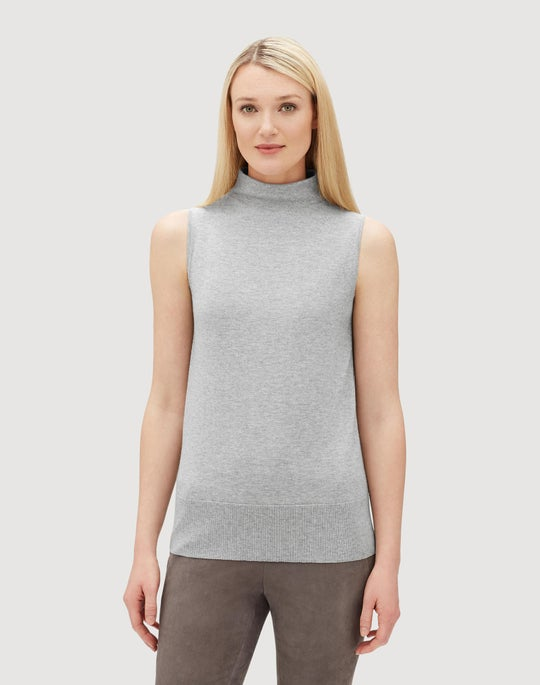Plus-Size Luxurious Cashmere Silk Sleeveless Mockneck Sweater
