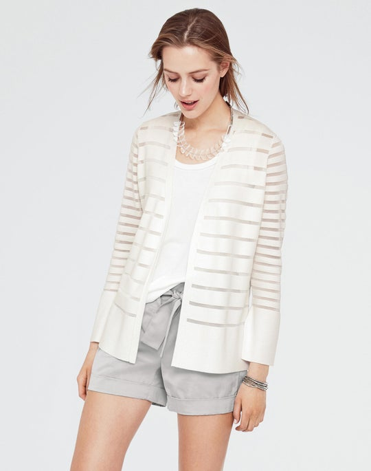 Petite Matte Crepe Mixed Stripe Cardigan