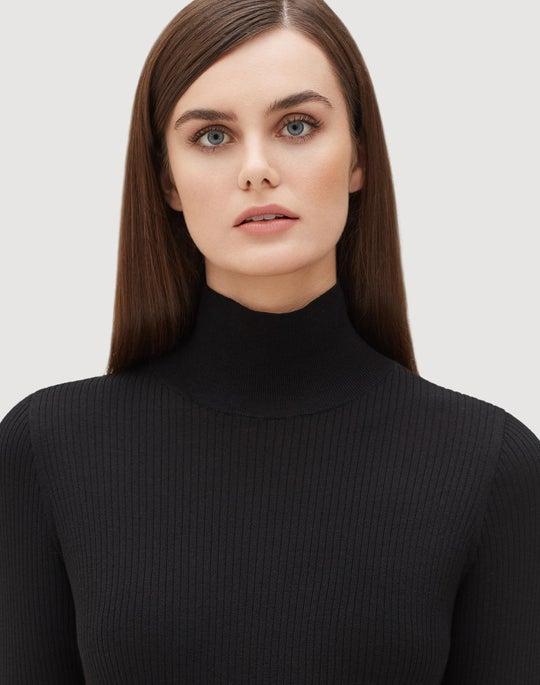 Plus-Size Fine Gauge Merino Ribbed Sweater