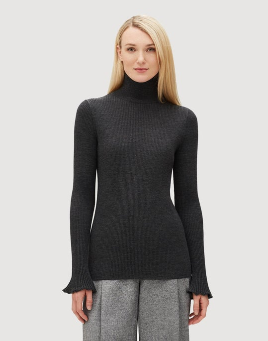 Petite Fine Gauge Merino Ribbed Sweater