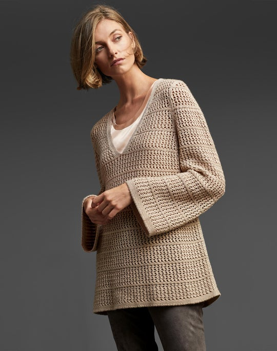 Cashmere Open-Stitch Sweater and Suede Brooklyn Pant