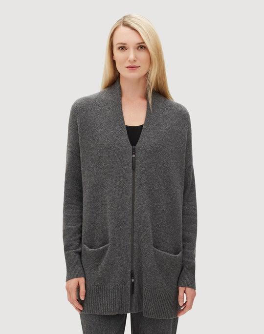 Plus-Size Cashmere Zip Front Cardigan