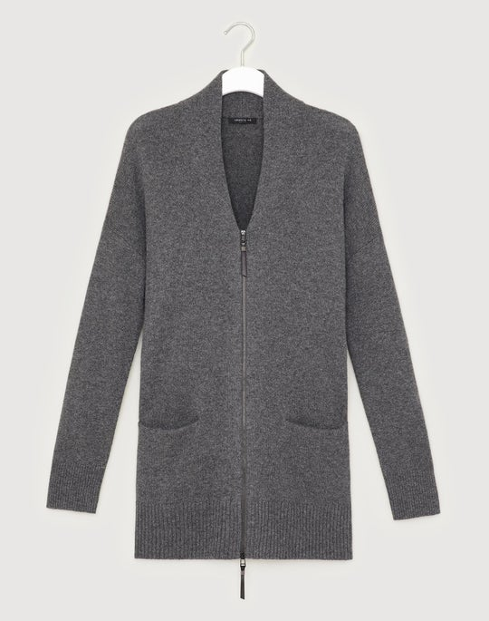 Cashmere Zip Front Cardigan