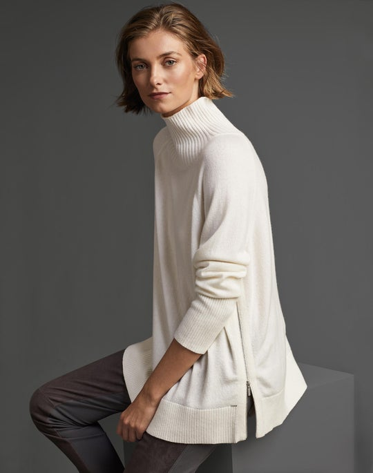 Cashmere Side Zip Sweater and Suede Front Mercer Pant