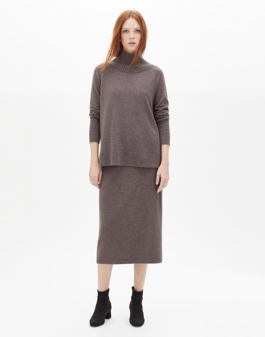 Cashmere Side Zip Sweater and Cashmere Knit Boot Skirt