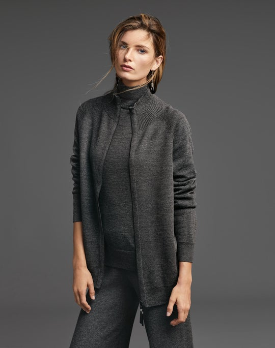 Zip Front Plaited Cardigan and Ribbed Knit Pant