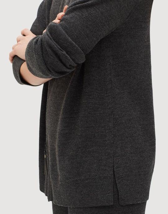 Petite Fine Gauge Merino Zip Front Plaited Cardigan