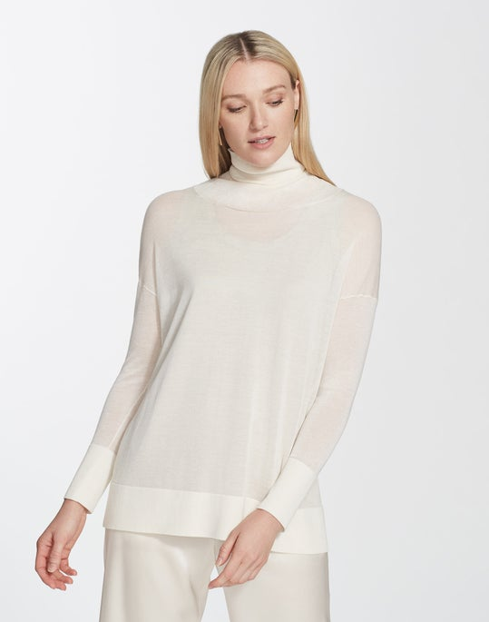 Finespun Voile Sheer Turtleneck