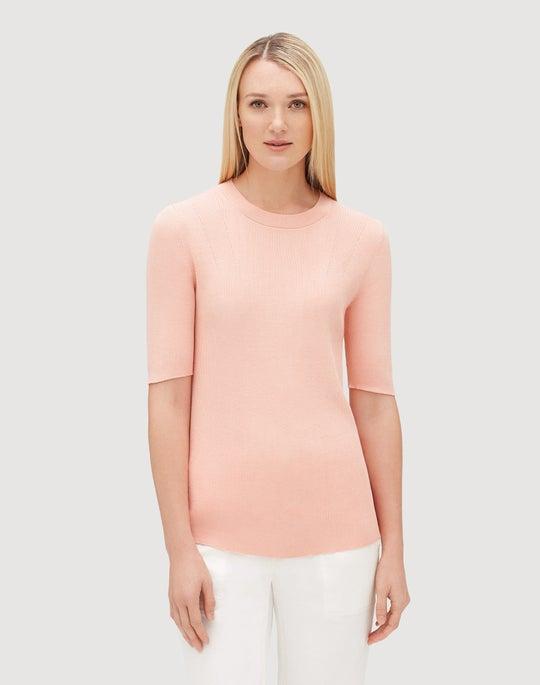 Cotton Silk Skinny Rib Short Sleeve Sweater