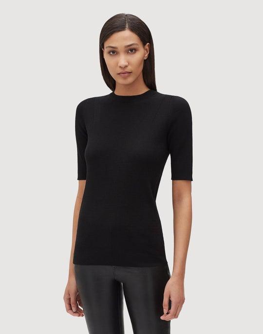 Plus-Size Fine Gauge Merino Skinny Rib Short Sleeve Sweater