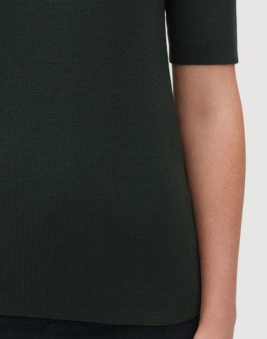 Fine Gauge Merino Skinny Rib Short Sleeve Sweater
