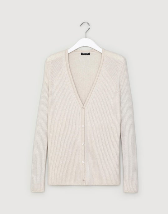 Petite Cashmere Button Front Ribbed Cardigan